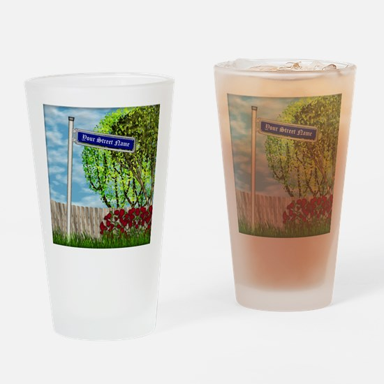 personalizable vintage street Drinking Glass