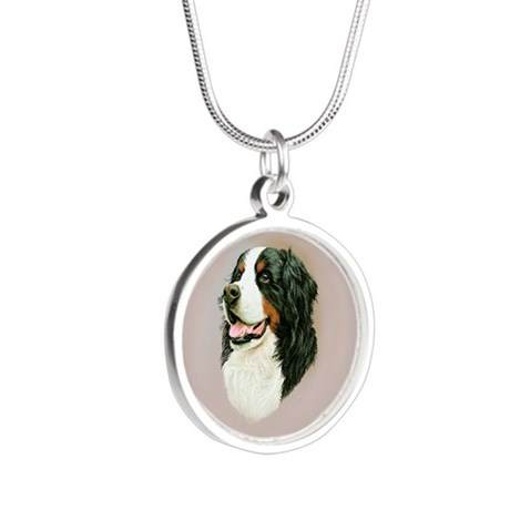 Bernese Mountain Dog Silver Round Necklace