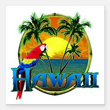 "Hawaiian Sunset Square Car Magnet 3"" x 3"""