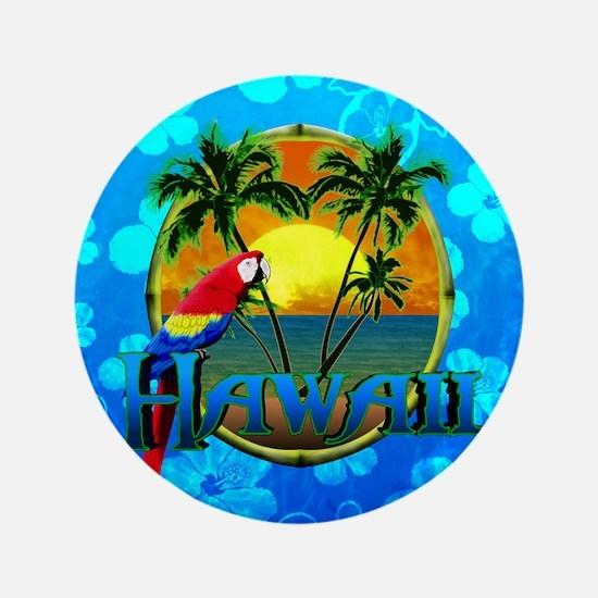 """Hawaii Sunset Blue Honu 3.5"""" Button"""
