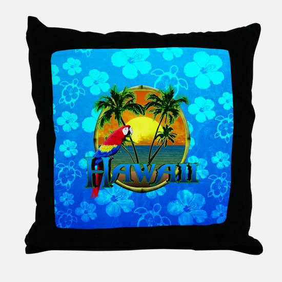 Hawaii Sunset Blue Honu Throw Pillow