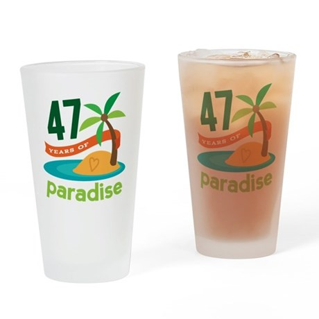 47th Anniversary Paradise Drinking Glass