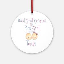 Proud Great Grandma BG Ornament (Round)