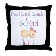 Proud Great Grandma BG Throw Pillow