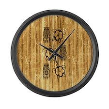 Honu and Tiki Mask Large Wall Clock
