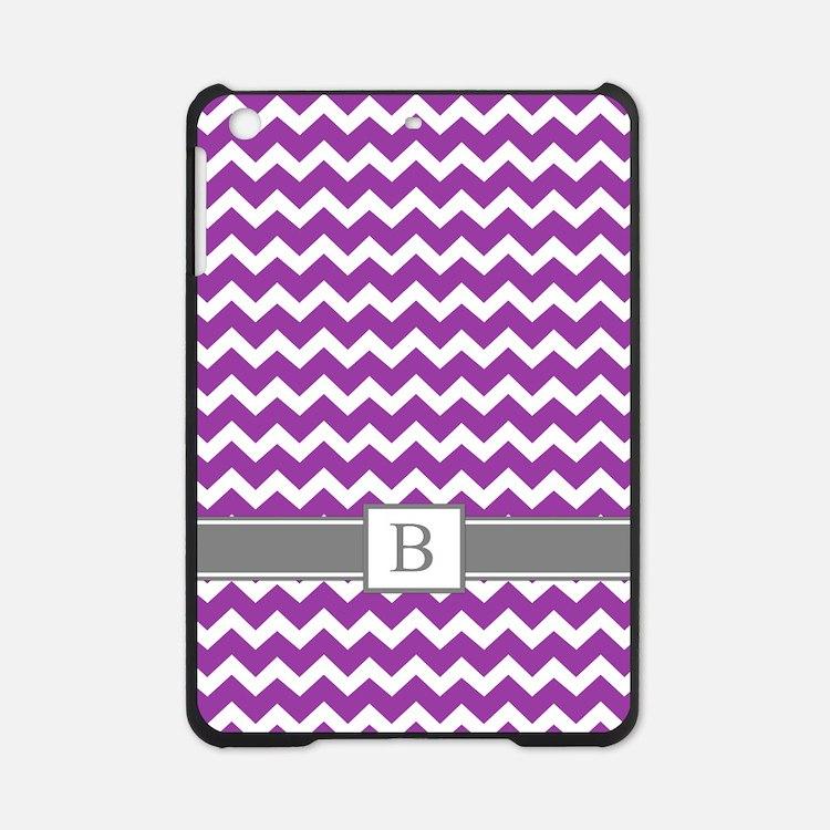 Purple Grey Chevron Monogram iPad Mini Case