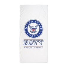 Navy - Proud Veteran Beach Towel