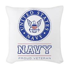 Navy - Proud Veteran Woven Throw Pillow