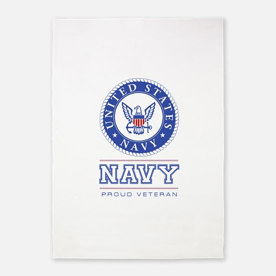 Navy - Proud Veteran 5'x7'Area Rug