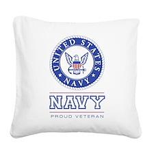 Navy - Proud Veteran Square Canvas Pillow