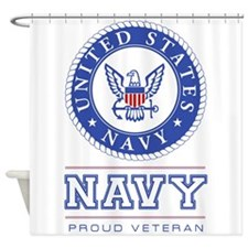 Navy - Proud Veteran Shower Curtain