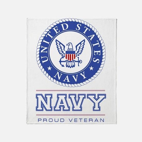 Navy - Proud Veteran Throw Blanket