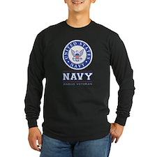 Navy - Proud Veteran Long Sleeve T-Shirt