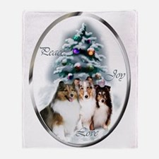 Shetland Sheepdog Christmas Throw Blanket