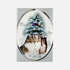 Shetland Sheepdog Christmas Rectangle Magnet (10 p