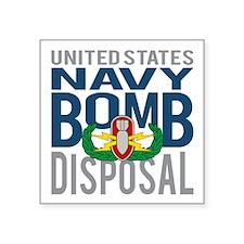"Navy Bomb Disposal Square Sticker 3"" x 3"""