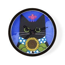 Black CAT, Sunflower & Pink Bird ART Wall Clock