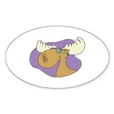 Moose In Shades Oval Decal