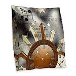 Vintage Music Burlap Throw Pillow