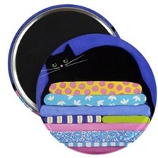 Black CAT On Quilts BLUE ART Magnet