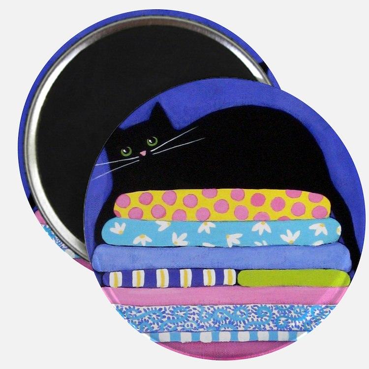 Black CAT On Quilts BLUE ART Magnet