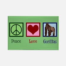 Peace Love Gorillas Rectangle Magnet