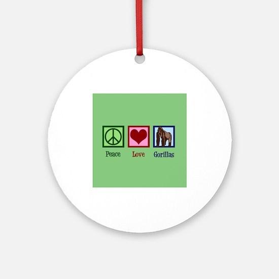 Peace Love Gorillas Round Ornament