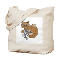 Mommy Cat and Kittens Tote Bag