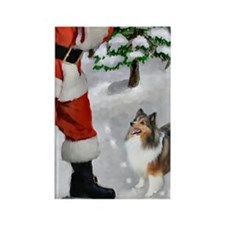 Shetland Sheepdog Christmas Rectangle Magnet (10 p