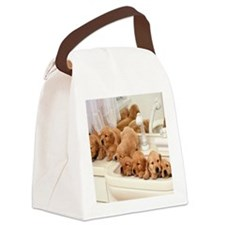 Puppies in a sink Canvas Lunch Bag