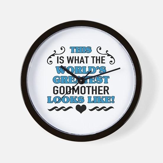 Cute Worlds best godmother Wall Clock