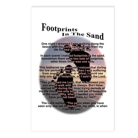 Foot Prints In The Sand Postcards (Package of 8)