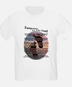 Foot Prints In The Sand Kids T-Shirt