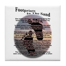 Foot Prints In The Sand Tile Coaster