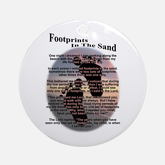 Foot Prints In The Sand Ornament (Round)