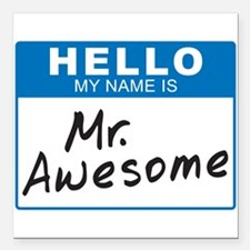 """Mr. Awesome 1 Square Car Magnet 3"""" x 3"""""""