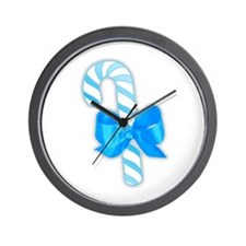 Blue Candy Cane Wall Clock