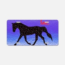 Purple Ice Horse and Heart Aluminum License Plate
