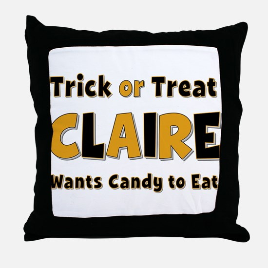 Claire Trick or Treat Throw Pillow