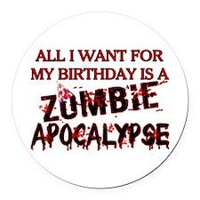 Birthday Zombie Apocalypse Round Car Magnet