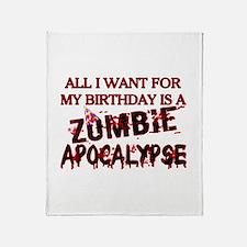 Birthday Zombie Apocalypse Throw Blanket