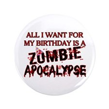 "Birthday Zombie Apocalypse 3.5"" Button (100 pack)"