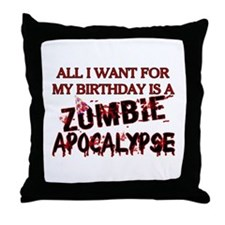 Birthday Zombie Apocalypse Throw Pillow