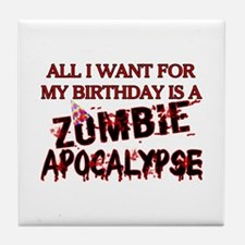 Birthday Zombie Apocalypse Tile Coaster