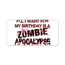 Birthday Zombie Apocalypse Aluminum License Plate
