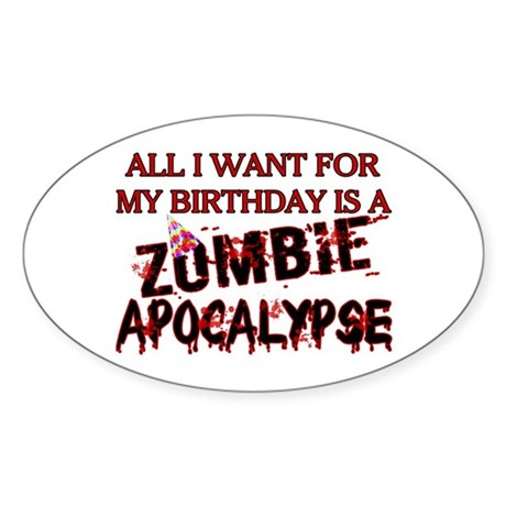 Birthday Zombie Apocalypse Sticker (Oval 50 pk)