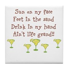 Sun on my face drink in my hand design Tile Coaste