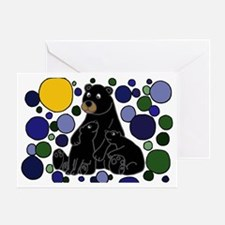 Black Bears and Cubs Art Greeting Card