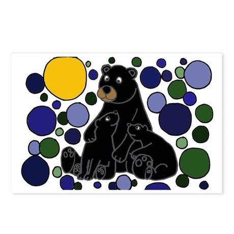 Black Bears and Cubs Art Postcards (Package of 8)