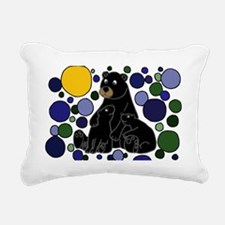 Black Bears and Cubs Art Rectangular Canvas Pillow